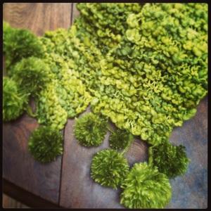 Green Garter Stitch Scarf in Tosca by Fleece Artist