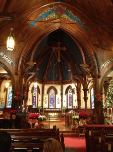 Looking toward the chancel from the nave, St. John's, Lunenburg on December 24th 2012.