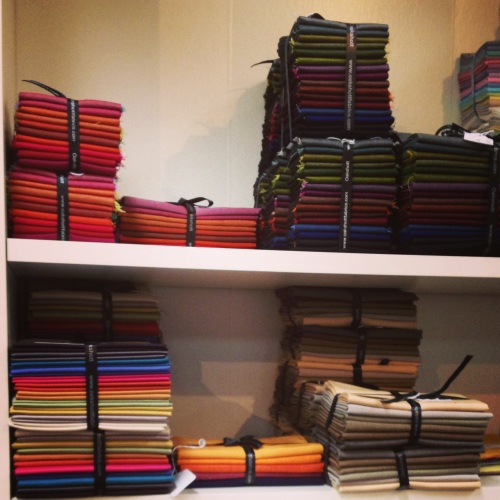 These are the Oakshott precuts, organized into size and colourway.  They were unbelievably lovely.