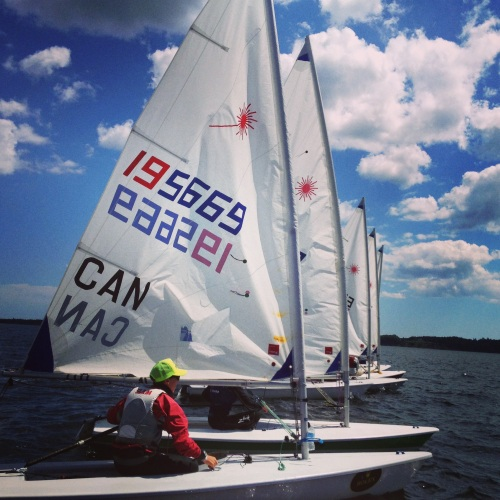 Laser Radials lining up for a start at LYC Sailfest 2013.