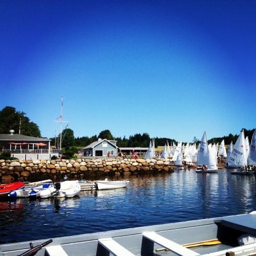 View towards Lunenburg Yacht Club with competitors leaving the 'beach' and setting out for a day of racing.